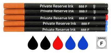 Pk/5 Private Reserve (Schmidt 888) Rollerball Refills BLACK-RED-BLUE Fine