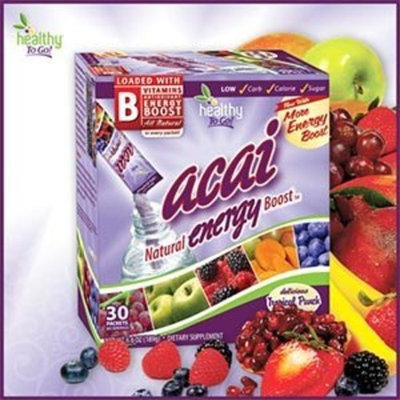 Acai Natural Energy Boost from Healthy To Go - 30 Tropical Punch Flavored Packets-60 Servings