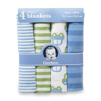 Gerber Childrenswear Inc Infant Boy's 4-Pack Flannel Blankets