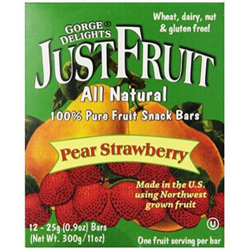 Gorge Delights JustFruit All Natural Fruit Snack Bar, Pear Strawberry, 0.9-Ounce Bars (Pack of 24)