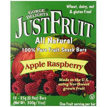 Gorge Delights JustFruit All Natural Fruit Snack Bar, Apple Raspberry, 0.9-Ounce Bars (Pack of 24)