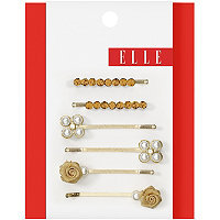 Elle Gold Rosettes Bobby Pins 6 Count