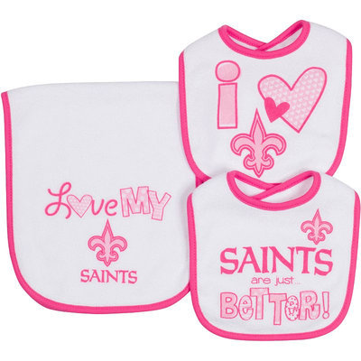 Kohls New Orleans Saints 3-Piece Bib & Burb Cloth Set (Snt Team)