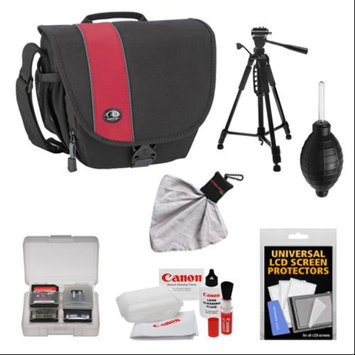 Tamrac 3444 Rally 4 Digital SLR Camera Case (Black/Red) with Deluxe Photo/Video Tripod + Canon Cleaning Kit for Canon EOS 6D, 5D Mark II III, Rebel T3, T4i, T5i, Sl1 Digital SLR Cameras