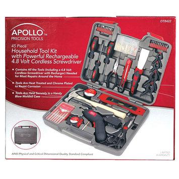 Apollo Tools 144pc Household Tool Kit w/ Cordless Screwdriver, Red