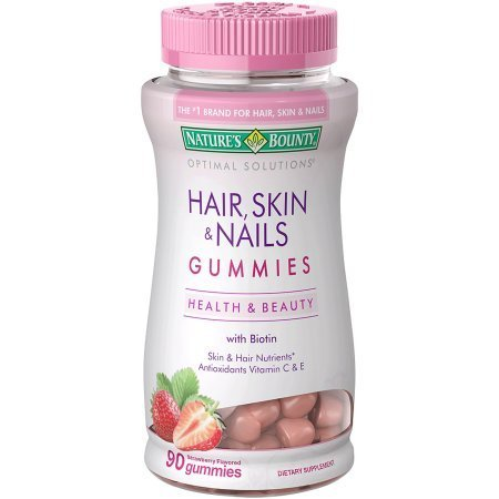Nature's Bounty Optimal Solutions Hair, Skin & Nails Dietary Supplement Strawberry Flavored Gummies, 90 count