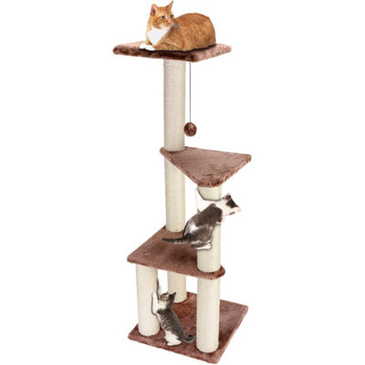 Ace Bayou Cat Craft 3-Story Cat Lookout, Brown