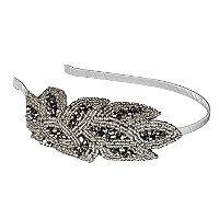 Elle Beaded Silver Flower Headband