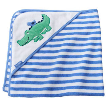 Carter's Hooded Bath Towel - blue and green alligator
