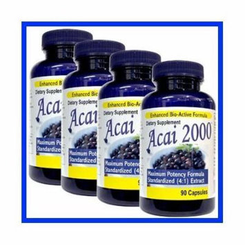 4 Pack -Acai 2000 Max Potency 360 CAPSULES 100% PURE, 4:1 Extract ACAI Berry Natural Nutrition, For Energy, Weight Loss, Detox Diet 4 Bottles, 4 Months , 2000 Mg, acai per serving 90 Caps