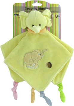 Russ Baby Bow Plush Elephant Rattle Blanket in Yellow