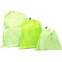 Basics 3 Pc Green Washable Drawstring Bag Set