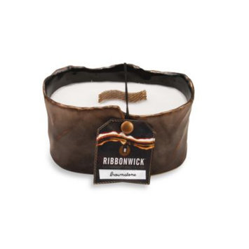 SMALL OVAL BROWNSTONE RibbonWick Scented Candle