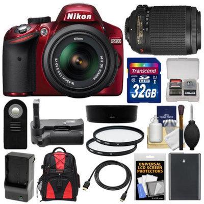 Nikon D3200 Digital SLR Camera & 18-55mm G VR DX AF-S Zoom Lens (Red) with 55-200mm VR Lens + 32GB Card + Case + Battery & Charger + Grip + HDMI Cable + Filters Kit