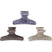 Riviera Blue Crocodile Print Claw Clip 3 Pc
