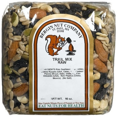 Bergin Nut Company Trail Mix Raw, 16-Ounce Bags (Pack of 4)