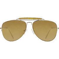 Starlight Gold Aviator Sunglasses with Glitter Accent Bar