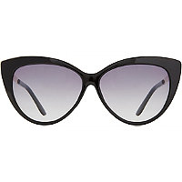 Starlight Black Cateye Sunglasses with Metal Temples