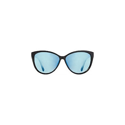 Starlight Black Cateye Sunglasses with Blue Mirror Lens
