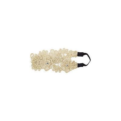 Riviera Delicate Flower Embroidered Head Wrap W/ Stone