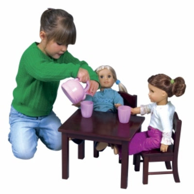 Guidecraft Doll Table and Chairs Set, Espresso, 1 ea