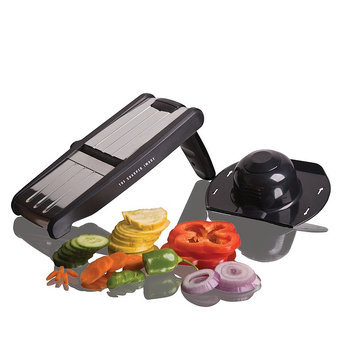 The Sharper Image Stainless Steel 3-in-1 Mandoline, Black