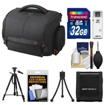 Sony LCS-SC21 Soft Digital SLR Camera Carrying Case with 32GB SD Card + Tripod + Accessory Kit for Alpha SLT-A37, A57, A58, A65, A77 & A99