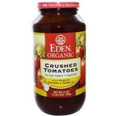 Eden Foods Organic Crushed Tomatoes Roasted Onion and Garlic -- 25 oz