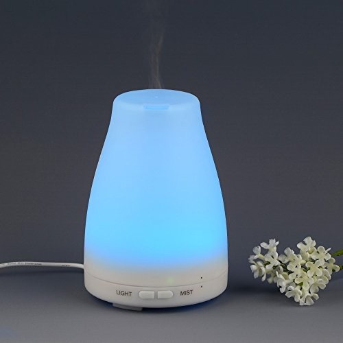 InnoGear® 100ml Aromatherapy Essential Oil Diffuser Portable Ultrasonic Cool Mist Aroma Humidifier with Color LED Lights Changing and Waterless Auto Shut-off Function for Home Office Bedroom Room [white]