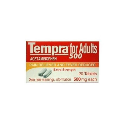 Tempra Acetaminophen 500 Pain Reliever 20 Tablets - Analgesico