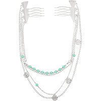 Capelli New York Mint Bead Hanging Chains with Silver Arrow Combs