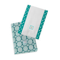 Swaddle Designs Jewel Tone Mod Circles Baby Burpies in Turquoise (Set of 2)