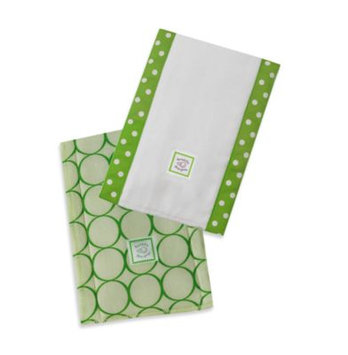 Swaddle Designs Jewel Tone Mod Circles Baby Burpies in Pure Green (Set of 2)