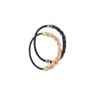 Elle Black and Rose Gold Braided Ponytailers
