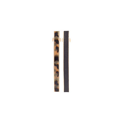 Elle Tortious and Black Leather Barrettes