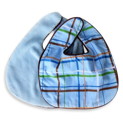 Caden LaneA Bib 2-Pack in Blue Solid & Blue Plaid