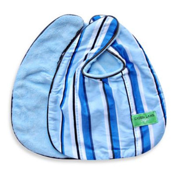 Caden Lane Luxe Pinstripe 2-Pack Bib Set in Blue
