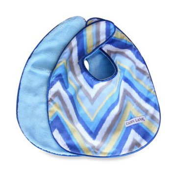Caden LaneA Ikat Bib 2-Pack in Blue Solid & Blue Chevron