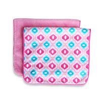 Caden LaneA Ikat Burp Cloth 2-Pack in Pink Solid & Pink Mod Print