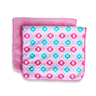Caden LaneA Ikat Burp Cloth 2-Pack in Pink Solid & Pink Mod Print