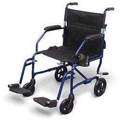 Medline Freedom Ultra-Lightweight Transport Chair, blue, 1 ea