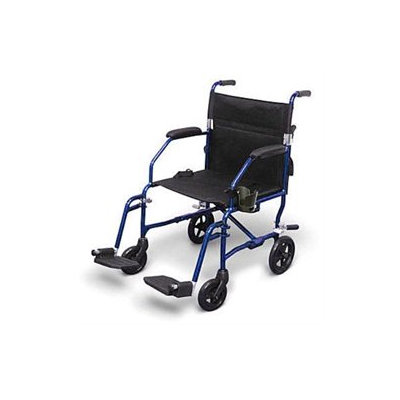 Medline Freedom Ultra-Lightweight Transport Chair, blue, 1 ea