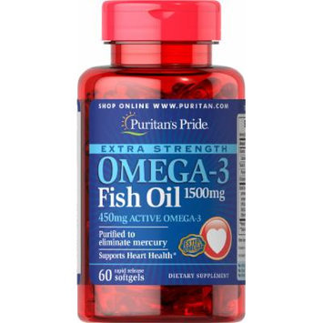 Puritan's Pride Extra Strength Omega-3 Fish Oil 1500 mg (450 mg Active Omega-3)-60 Softgels
