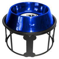 Platinum Pets Bone Single Feeder with One Stainless Steel Embossed