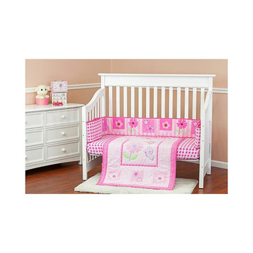 Dream On Me Pink Butterfly and Flower 2 Piece Reversible Full Size Crib Bedding Set