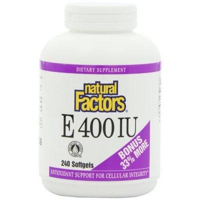 Natural Factors Vitamin E (D-alpha Tocopheryl Acetate) 400iu Softgels, 240-Count