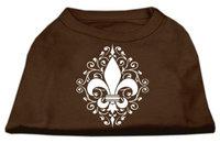 Ahi Henna Fleur de Lis Screen Print Shirt Brown XL (16)