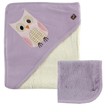 Baby Vision Hudson Baby Bamboo Hooded Bath Towel and Washcloth, Purple Owl