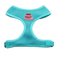Mirage Pet Products 73-34 MDAQ Pink Birthday Cake Chipper Aqua Harness Medium