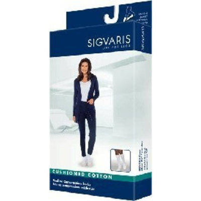 Sigvaris Women's Cushioned Cotton Knee High Sport Socks 20-30mmHg Long Length, X-Large Long, Black